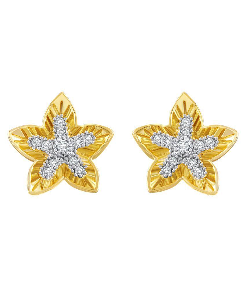 Asmitta Stylish Star Design American Diamond Gold Plated Stud Earring For Women