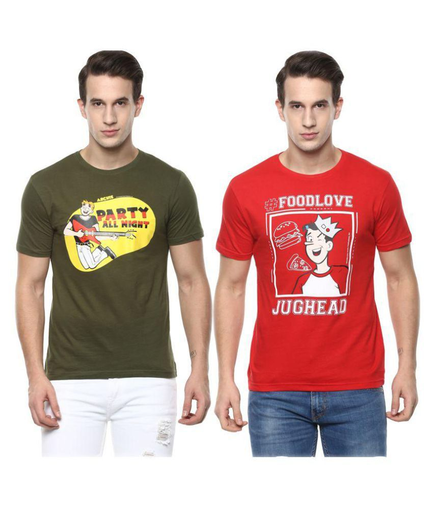 Lucky Roger Multi Round T-Shirt Pack of 2