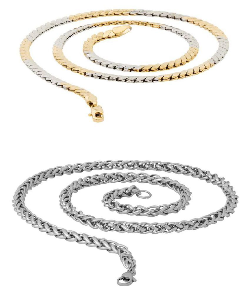 Voylla Set of 2 Spiga and Snake Link Chains