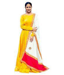 ethnic diwa Yellow Silk Anarkali Gown Semi-Stitched Suit