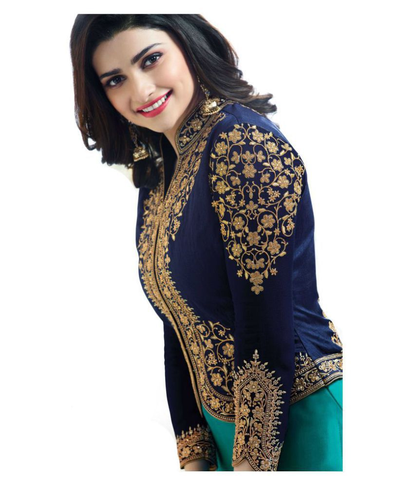 d7e3c9e7a9b ... Darshita International Turquoise Georgette Dress Material With Jacket  ...