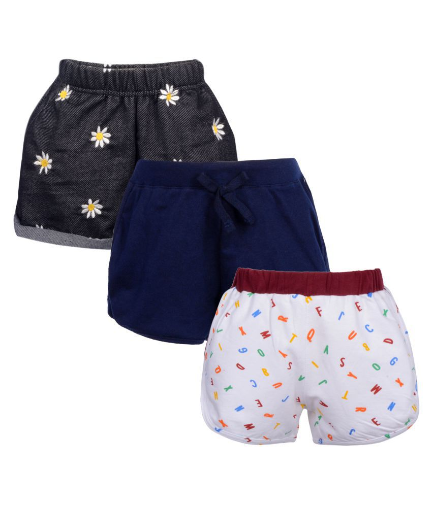 Gkidz Girls Pack of 3 Embroidered Printed and Solid Shorts Combo
