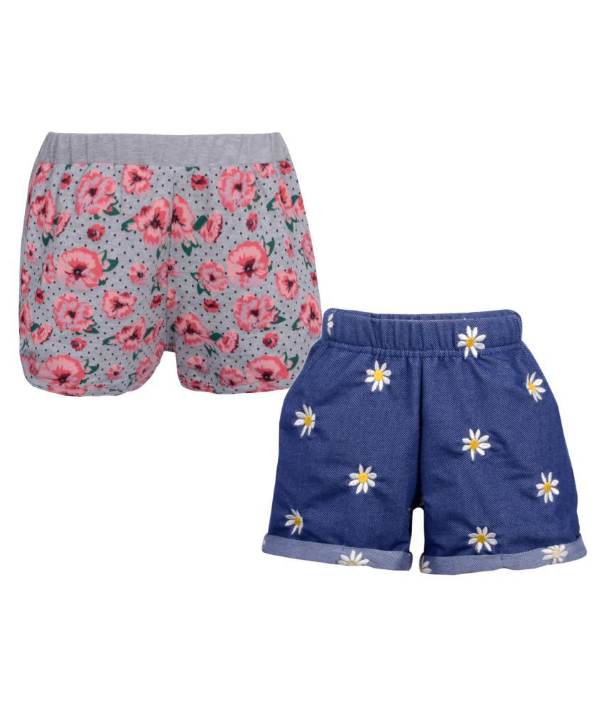 Teens Culture Girls Pack of 2 Embroidered and Printed Shorts