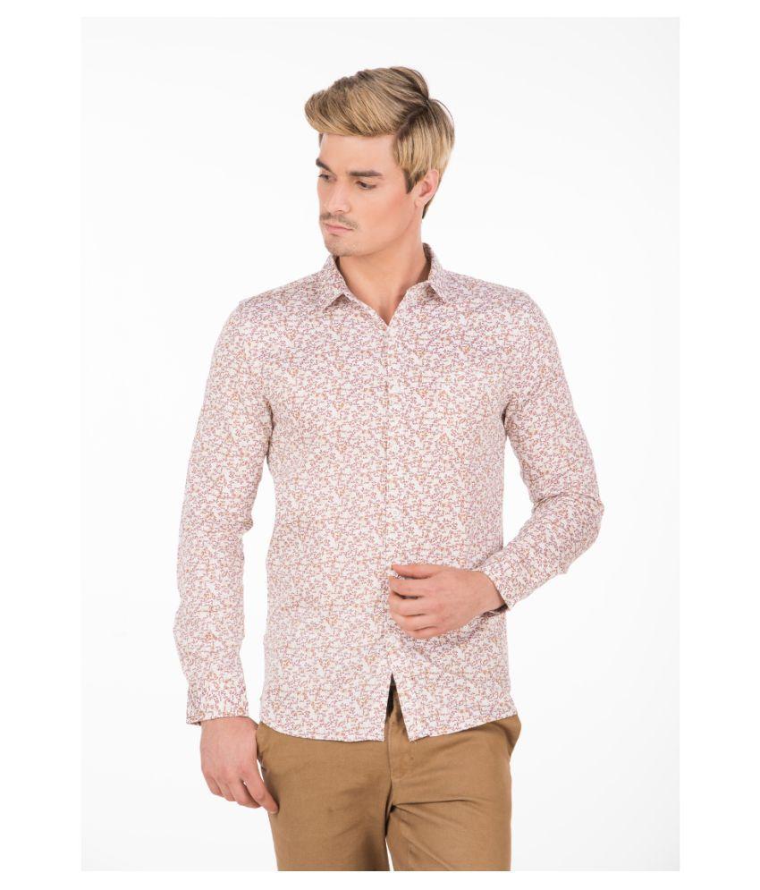 Fast n Fashion Beige Slim Fit Shirt