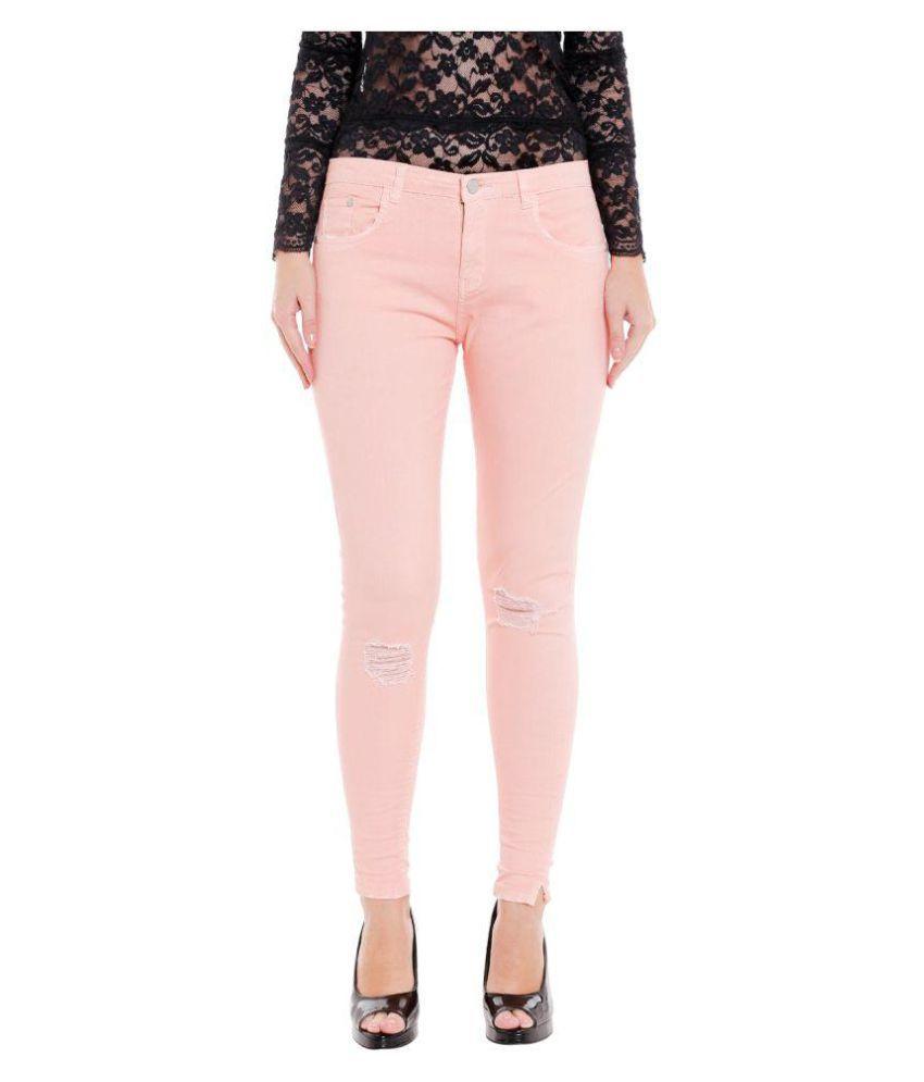 Fast n Fashion Cotton Lycra Jeans - Pink