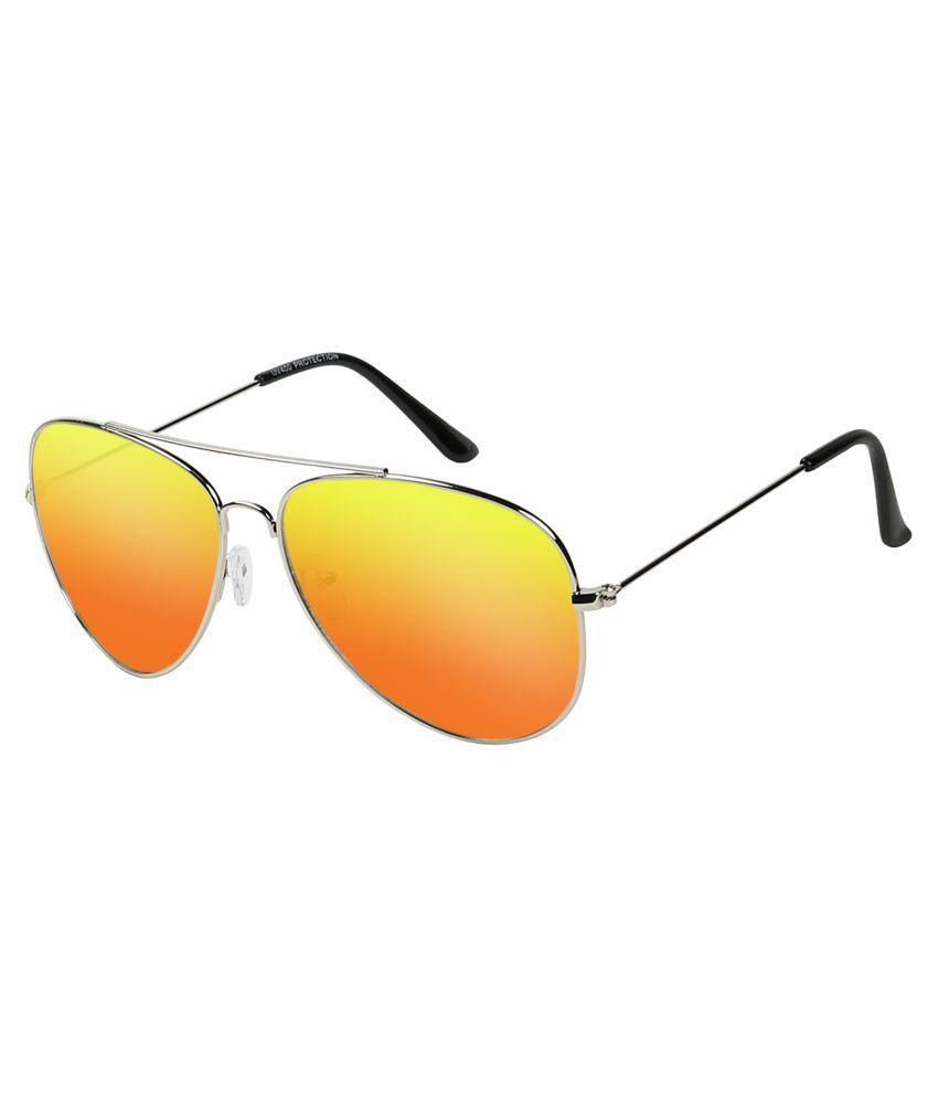 Poloport Yellow Aviator Sunglasses ( AV407 )
