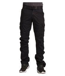 Vertical Black Regular -Fit Flat Cargos