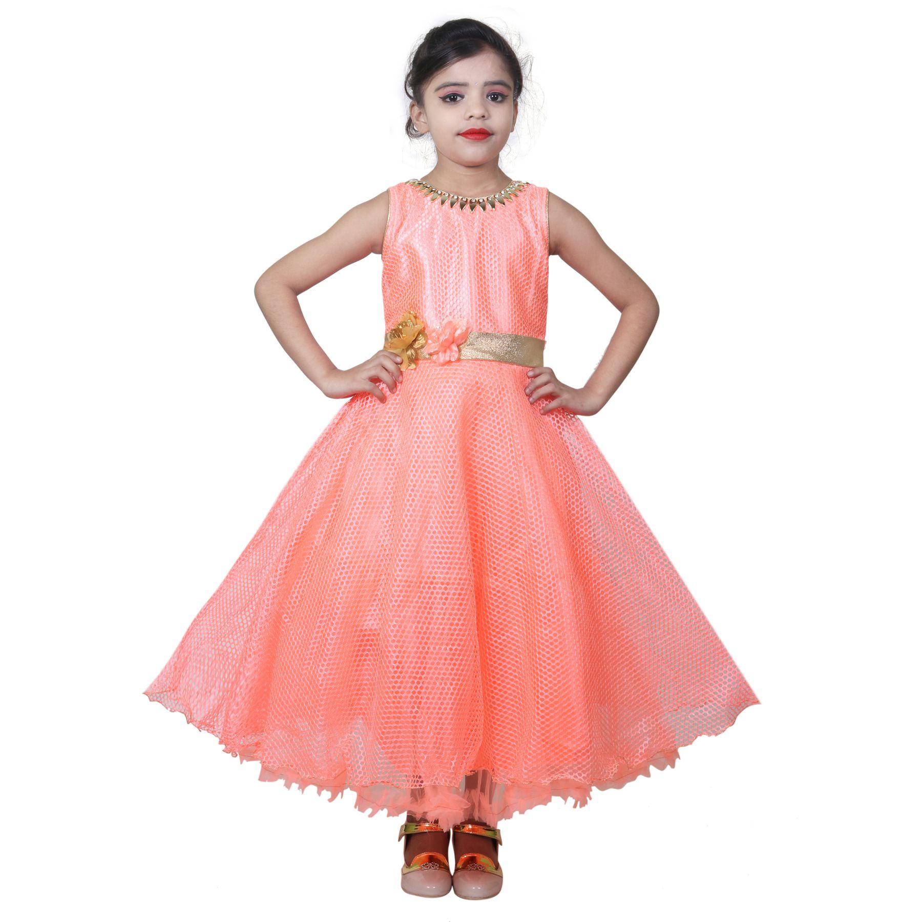 KBKIDSWEAR Girl's Self Design Party Wear Premium Net Gown