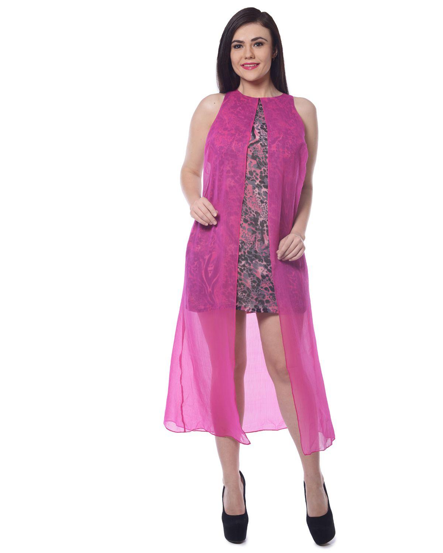 Trendy Divva Chiffon Pink Dresses