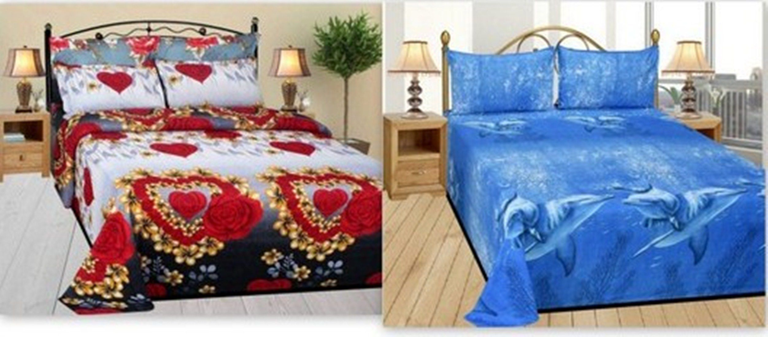 Attractivehomes Cotton 2 Double Bedsheets with 4 Pillow Covers