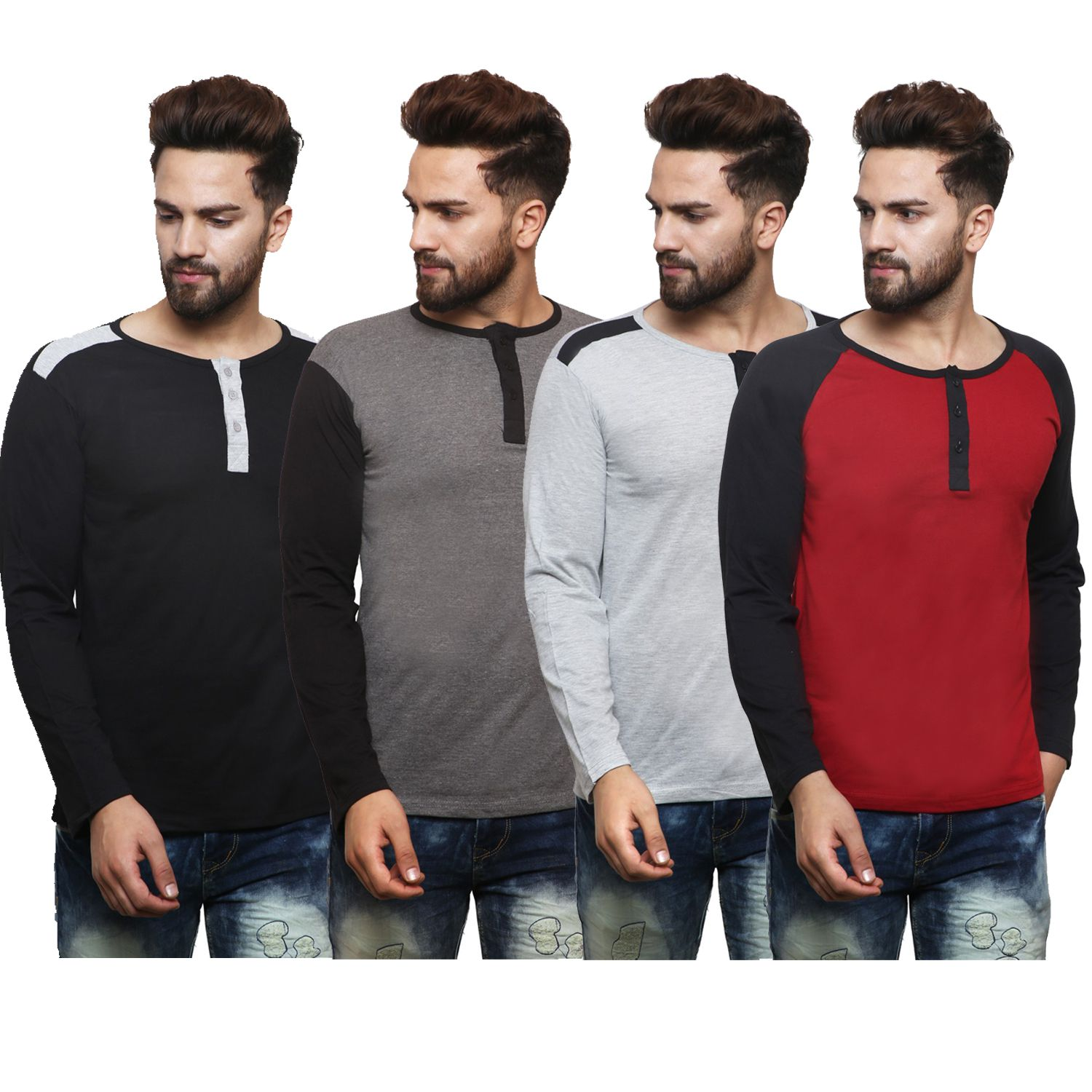 X-CROSS Multi Henley T-Shirt Pack of 4
