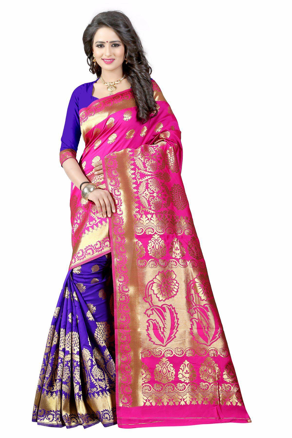 limozine creation Pink Banarasi Silk Saree