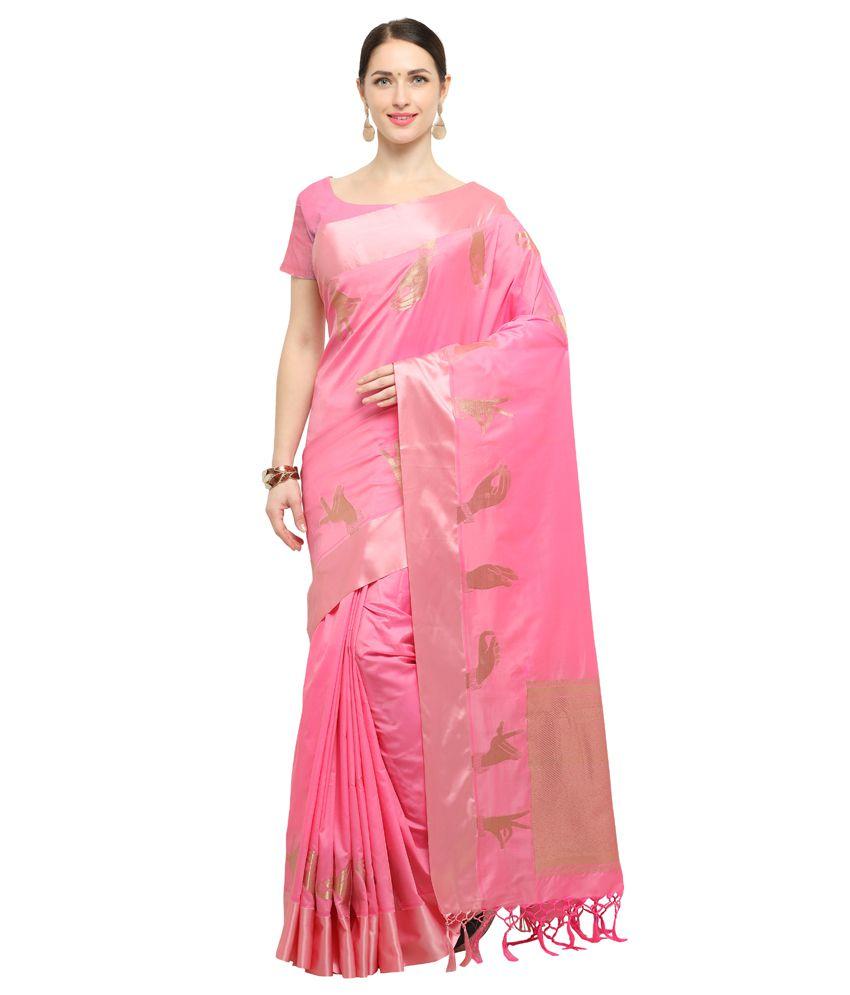 Varkala Silk Sarees Pink Katan Silk Saree