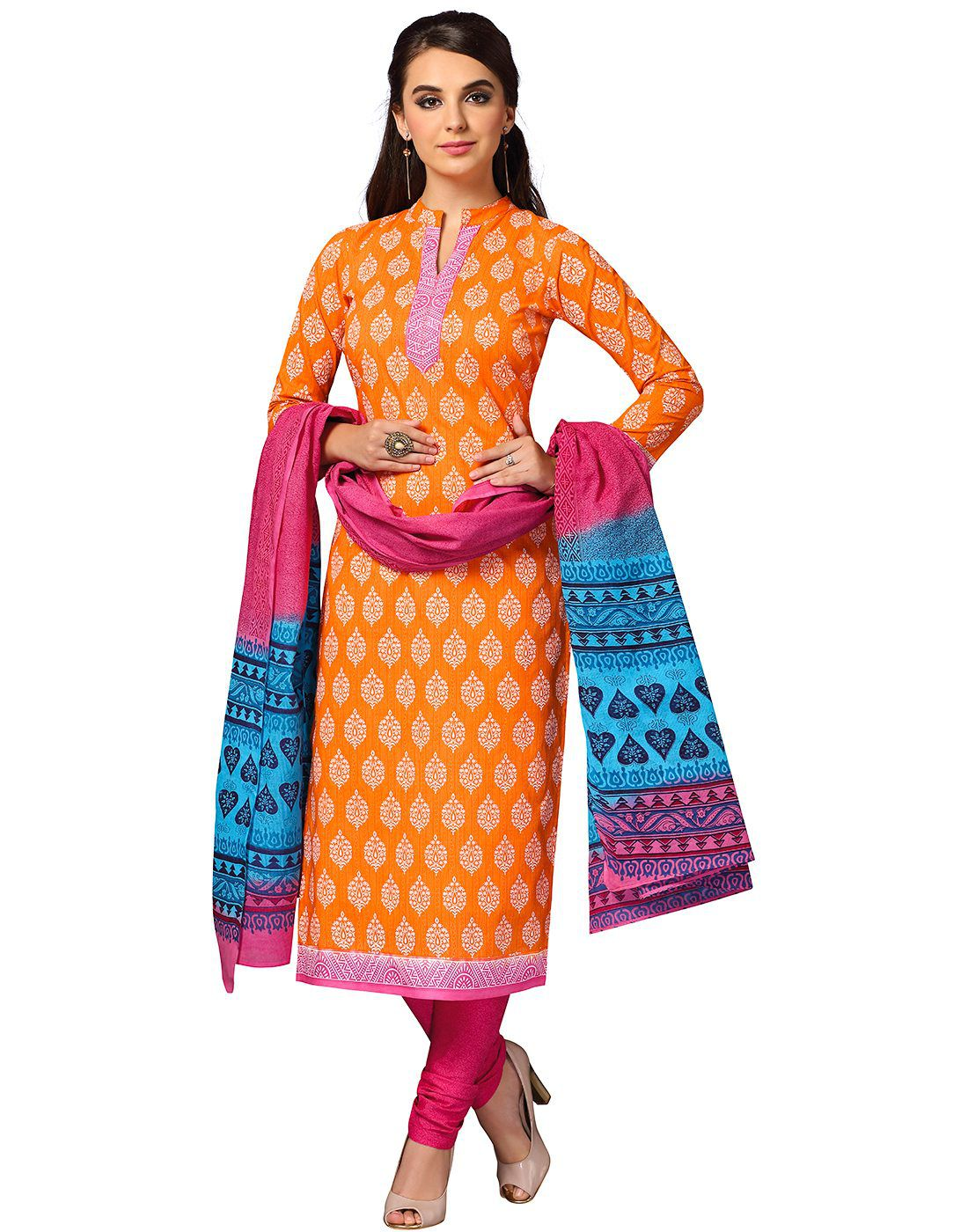 Jevi Prints Orange Cotton Dress Material