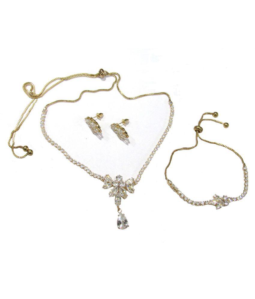 Nice AD Stone Drop Necklace Set