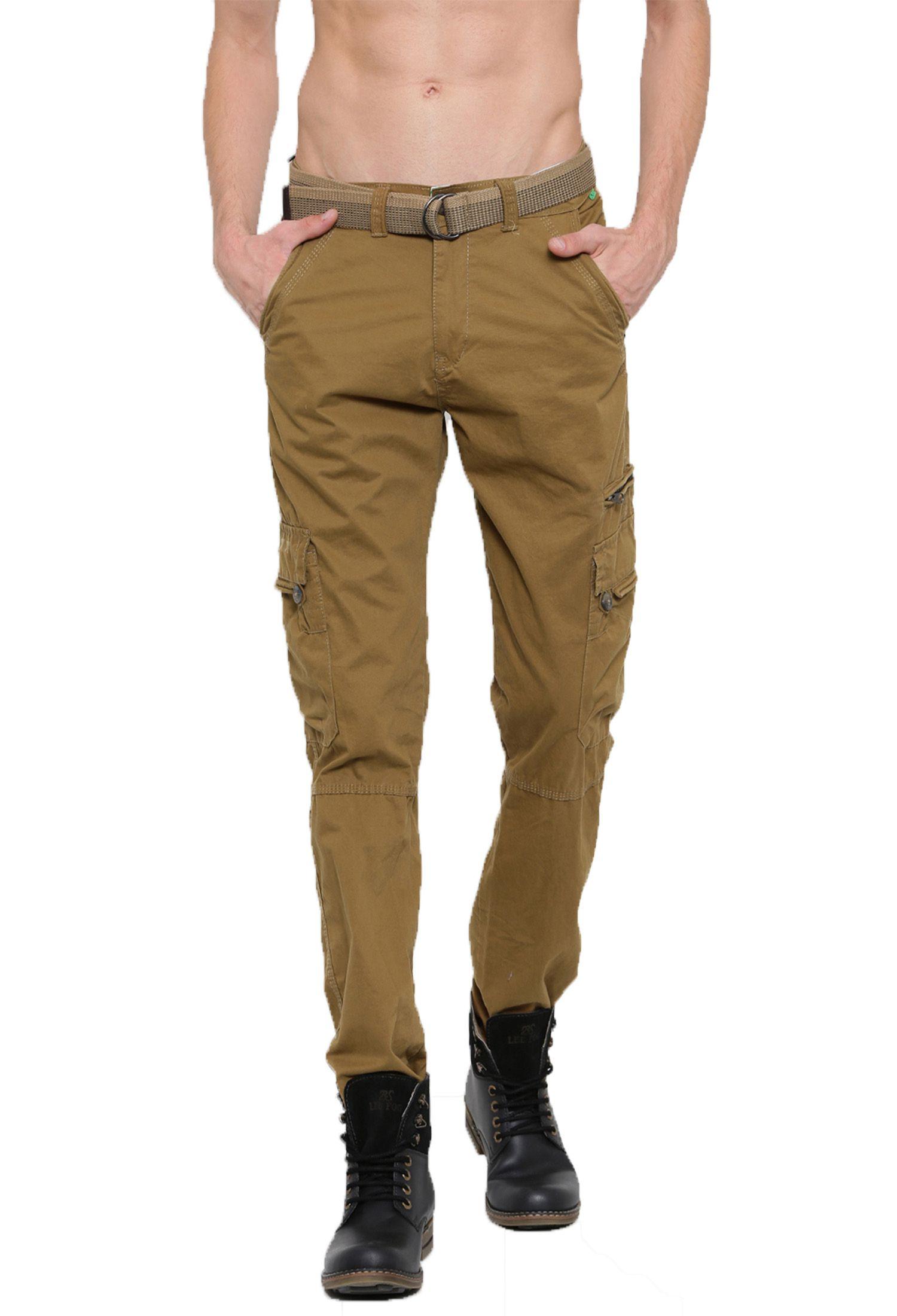SPORTS 52 WEAR Khaki Regular -Fit Flat Cargos