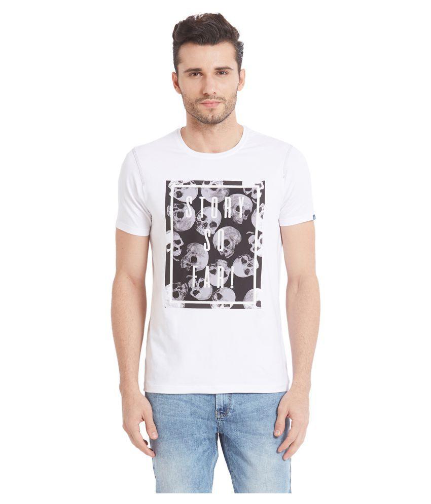 Spykar White Round T-Shirt Pack of 1