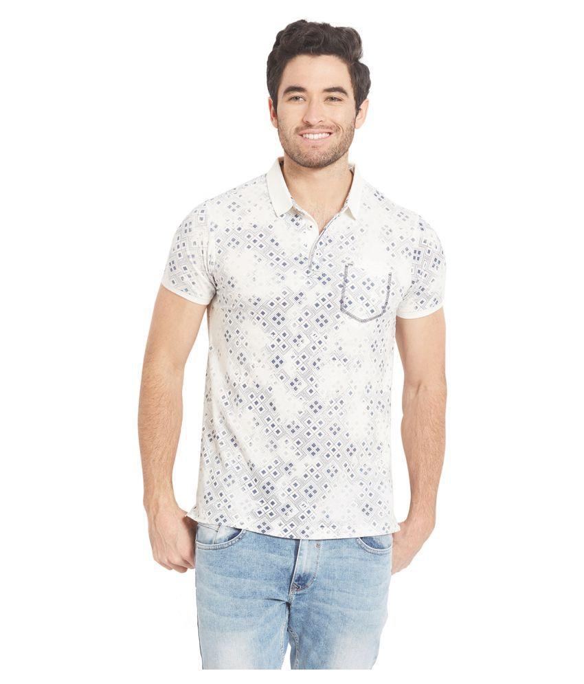Spykar White High Neck T-Shirt Pack of 1
