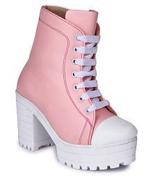 Do Bhai Pink Knee Length Bootie Boots