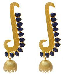 Ratnatraya Blue Spiral Artificial Gemstones Jhumka Earrings Fancy Designer Gold Polished Zumka Ear Tops For Girls And Women
