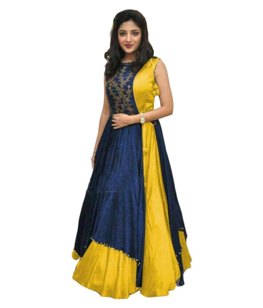 Bhuwal Fashion Blue Taffeta Anarkali Gown Stitched Suit