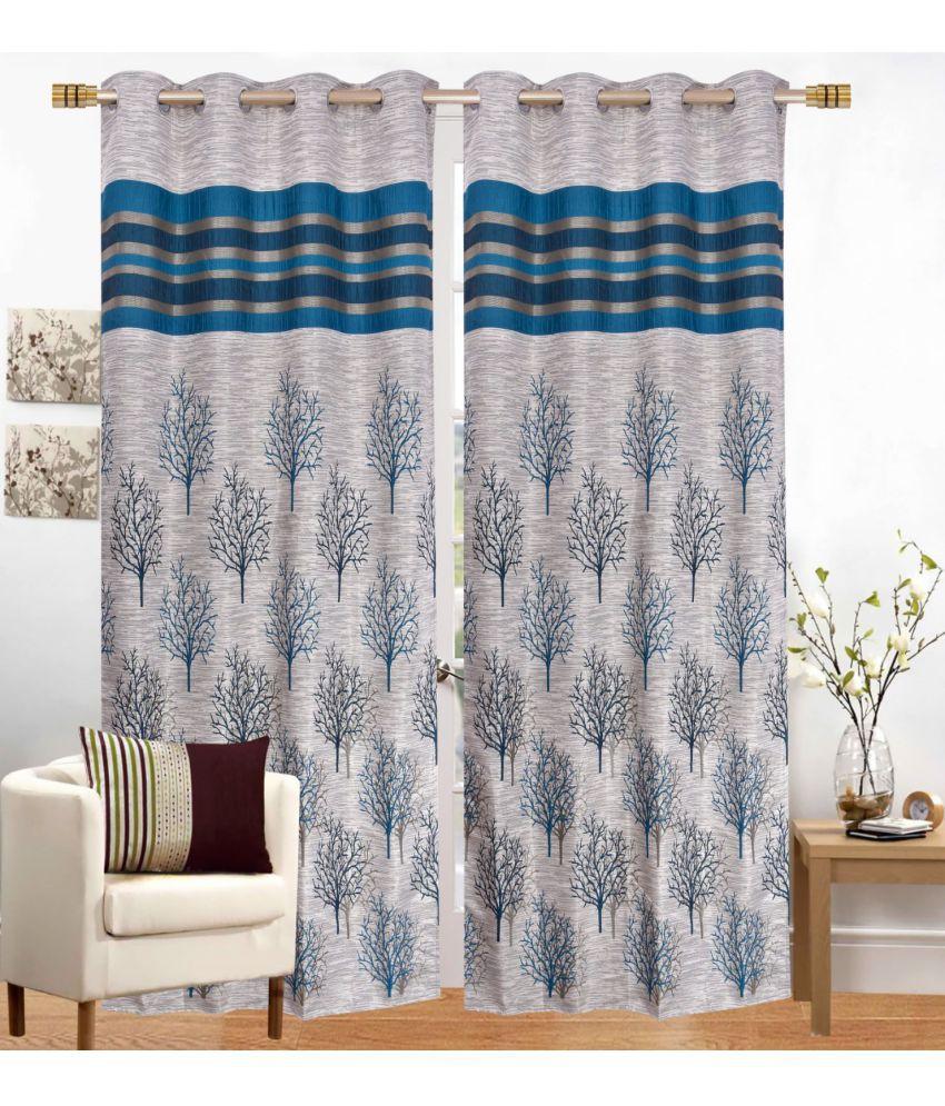 Fresh From Loom Set of 2 Window Eyelet Jute Curtains Blue
