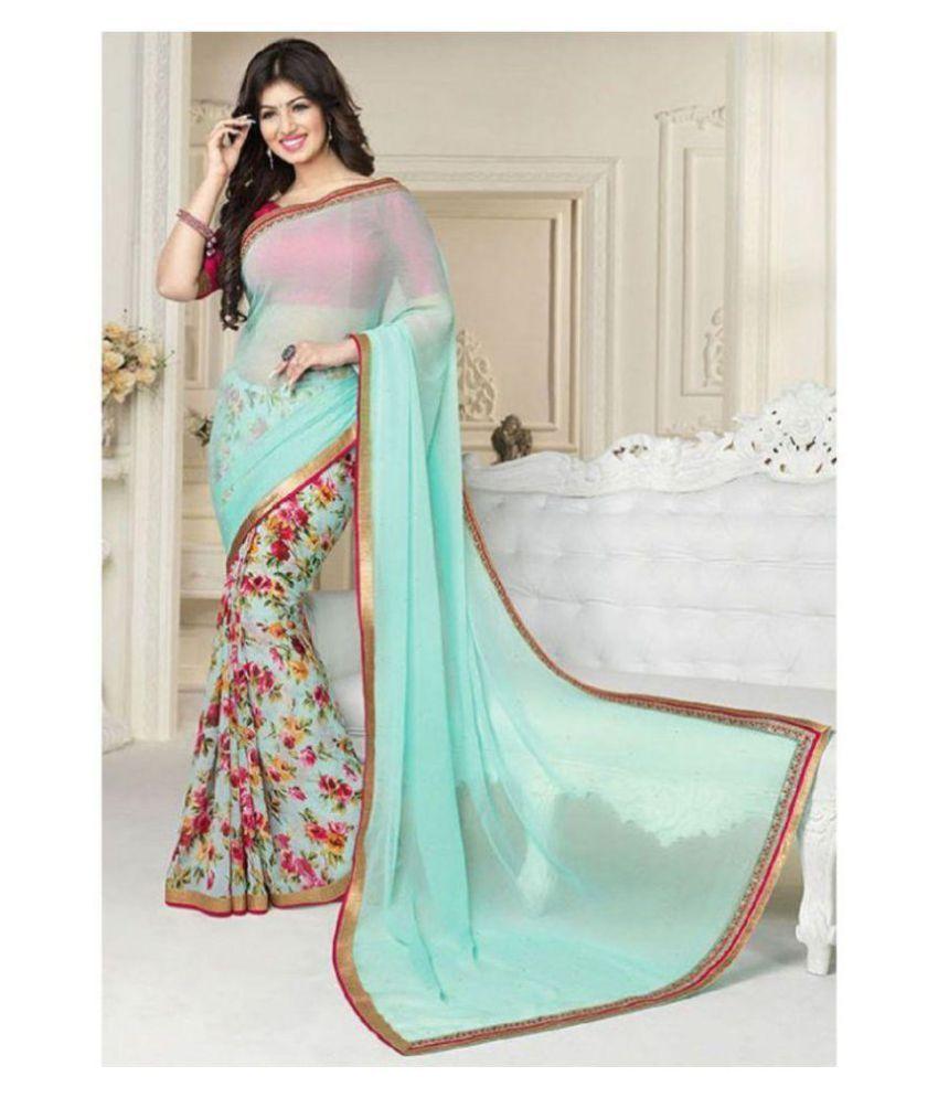Gazal Fashions Turquoise Chiffon Saree