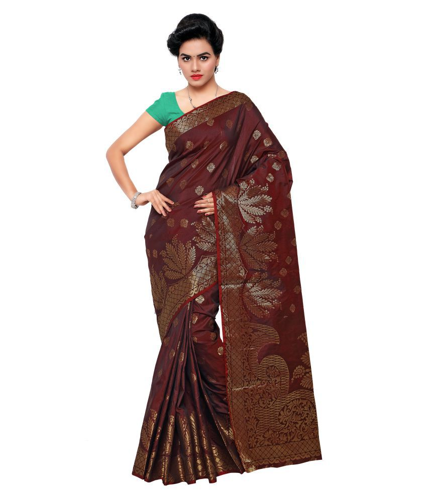 Makewayin Brown Viscose Saree