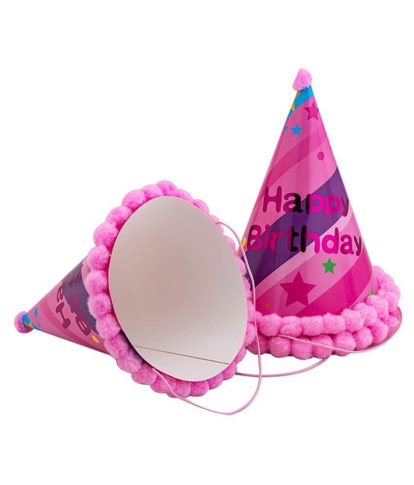 Enjoy Light Pink Pompom Cone Cap (Pack Of 3)