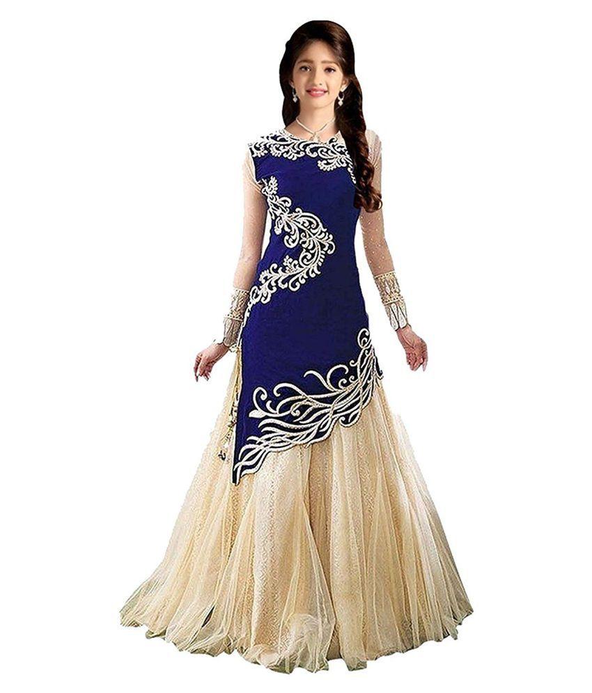 fd5574ec5e72 Dubai Creation Princess Baby Girls Birthday Party wear Blue Velvet ...
