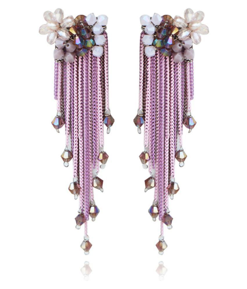 Jewels Galaxy Limited Editon Elegant Floral Design Magnificent Pair Of Colorful Onyx Tassel Earrings For Women/Girls