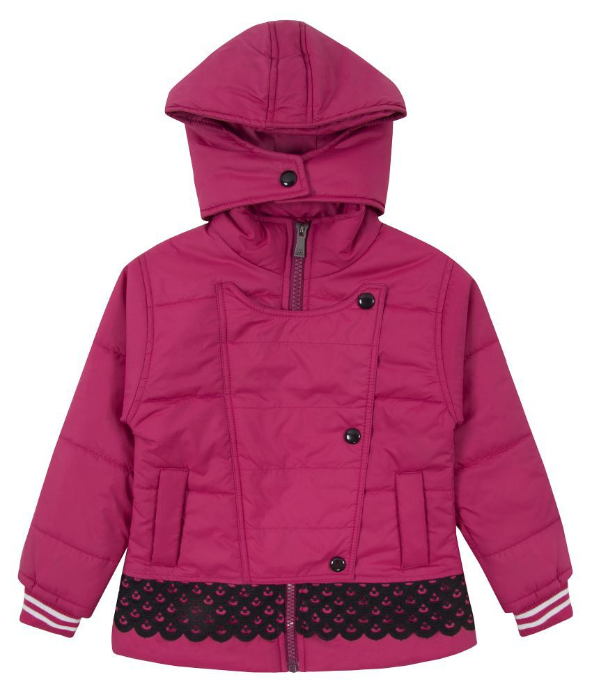 Zoravie Girl's Polyester Full Sleeves Solid Jacket - Pink