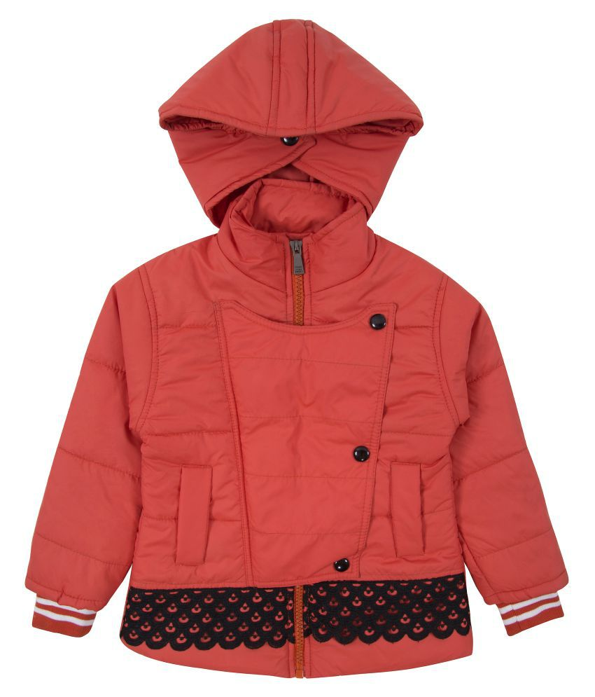 Zoravie Girl's Polyester Full Sleeves Solid Jacket - Orange