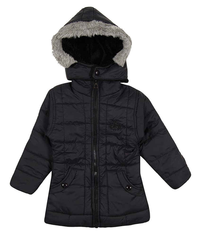Zoravie Girl's Polyester Full Sleeves Solid Jacket - Black
