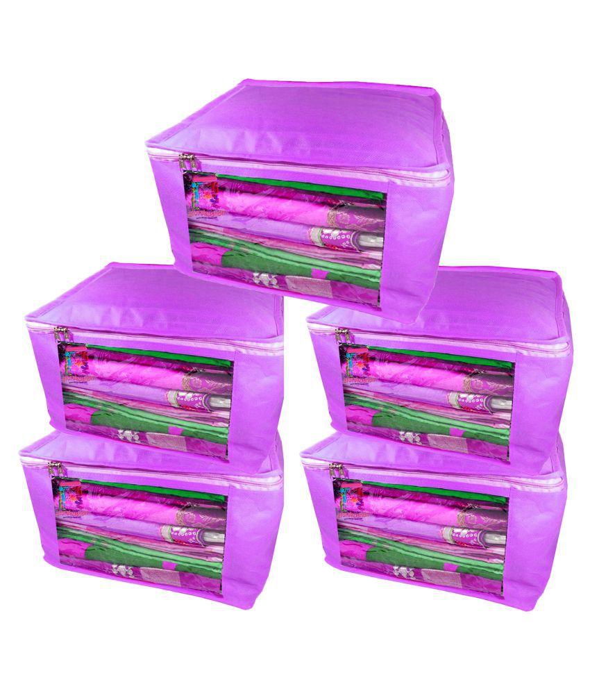 Atorakushon Purple Saree Covers - 5 Pcs