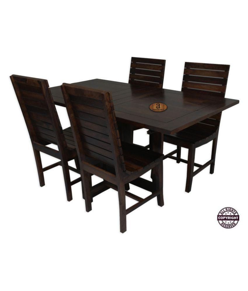 Angels modish solid sheesham wood dining table set walnut finish folding dining table