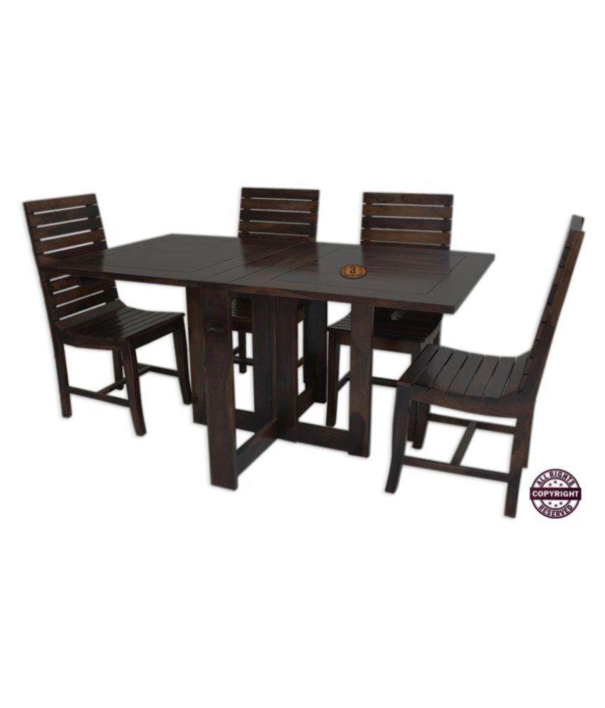 angel s modish solid sheesham wood dining table set walnut finish rh snapdeal com