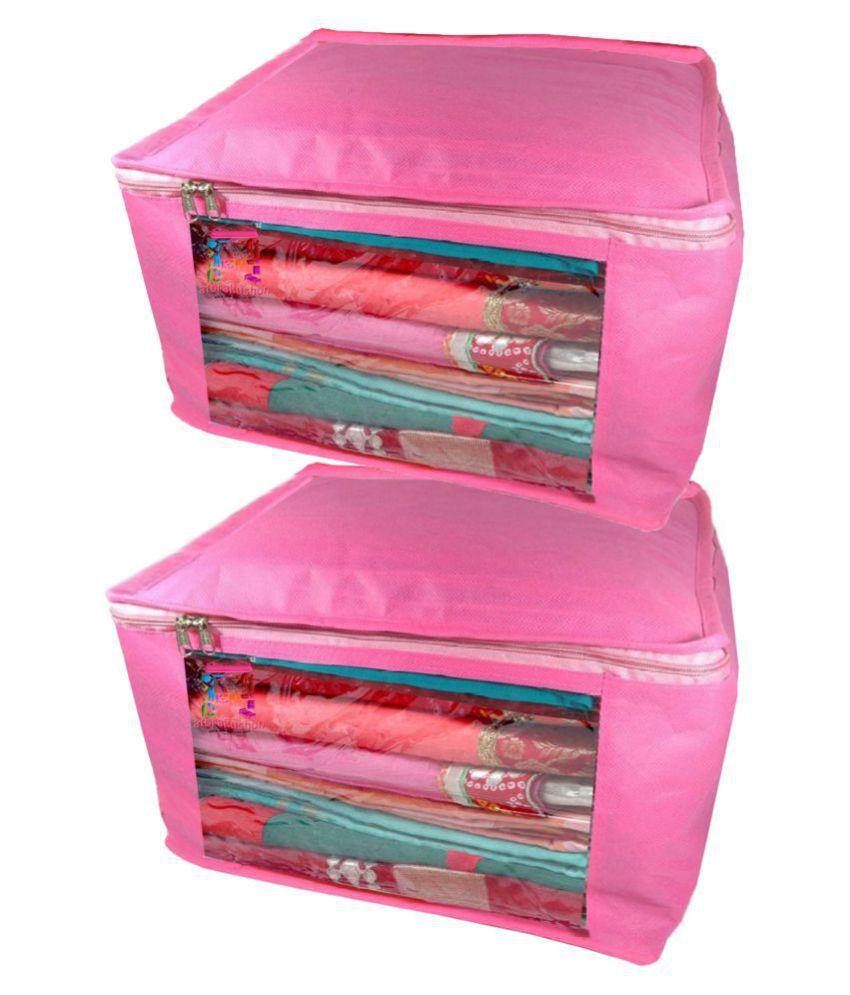 Atorakushon Pink Saree Covers - 2 Pcs