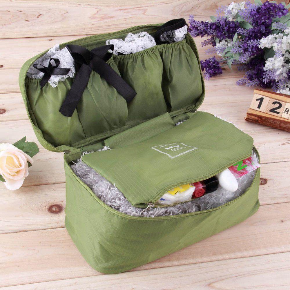 Everbuy Green Travel Organizer Bra Underwear Lingerie Pouch