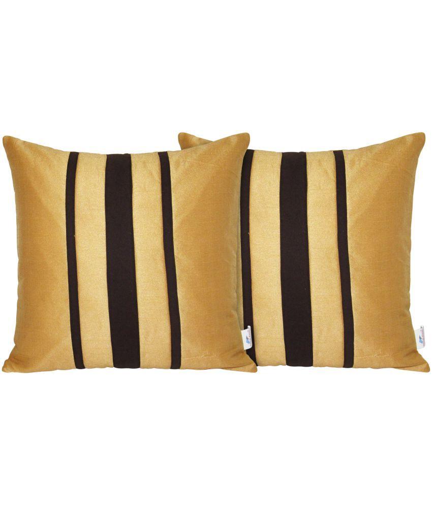 Zikrak Exim Set of 2 Poly Dupion Cushion Covers 40X40 cm (16X16)