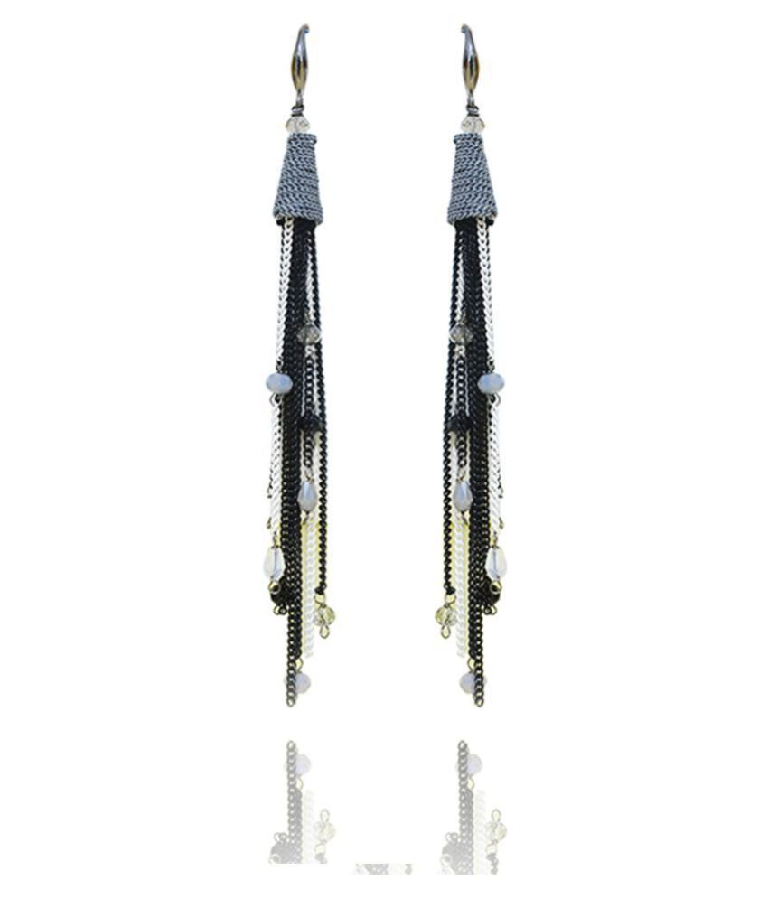Jewels Galaxy Luxuria Edition Hanging Hook Stylish Pair Of Oxidized Chains Onyx Tassel Earrings For Women/Girls