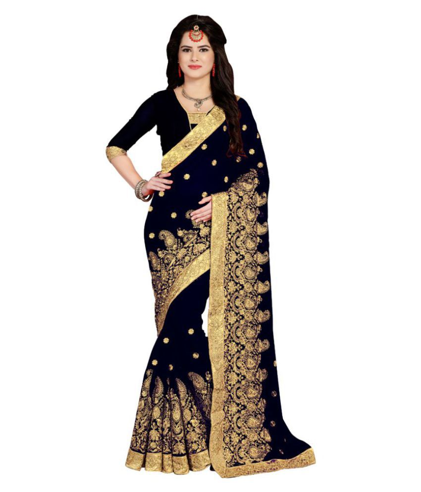 6be632fa2c Shivanya Fashion Beige and Black Georgette Saree - Buy Shivanya Fashion  Beige and Black Georgette Saree Online at Low Price - Snapdeal.com