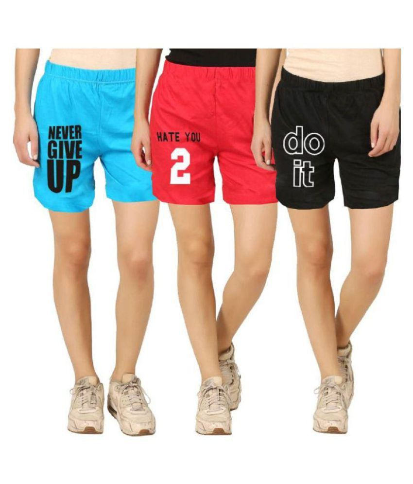 Hotfits Graphic Print Women Multicolor Basic Shorts