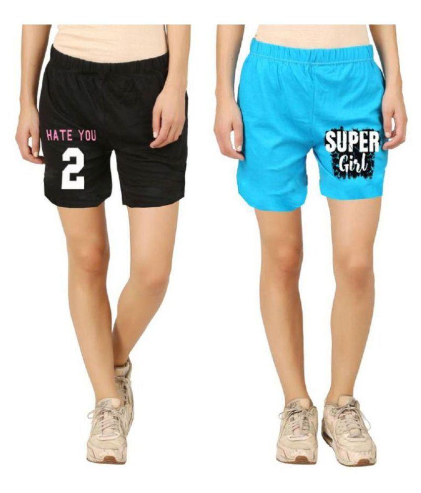Hotfits Graphic Print Women's Multicolor Basic Shorts
