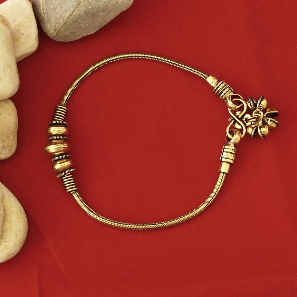 Prita Golden Alloy Polki Anklet(Pack Of-2)
