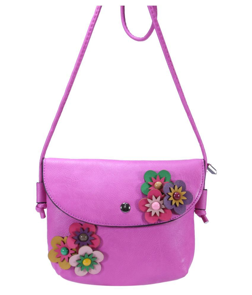 Desence Purple Faux Leather Sling Bag