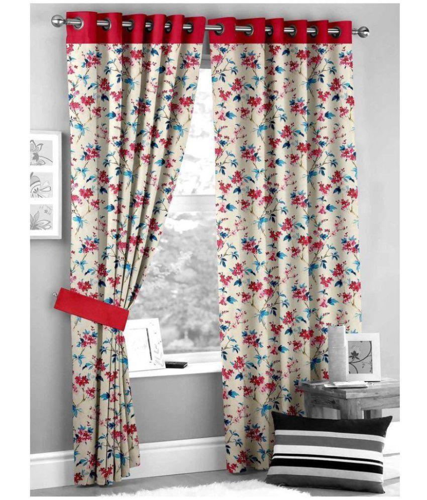 GVR FASHION Set of 2 Door Blackout Room Darkening Eyelet Silk Curtains Red