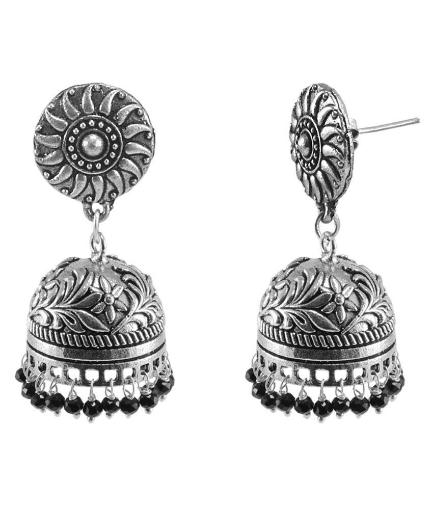 Black Beaded Jaipurn Round Jhumki-Handmade Hook Earrings-Jaipur Jewellery Silvesto India PG 116430
