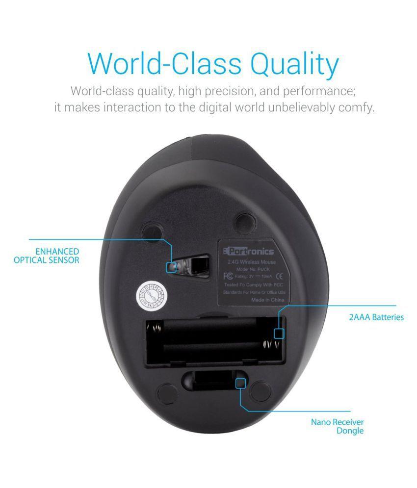 Portronics Por-689 Puck Ergonomic Wireless Mouse With Optical Sensor (Black)