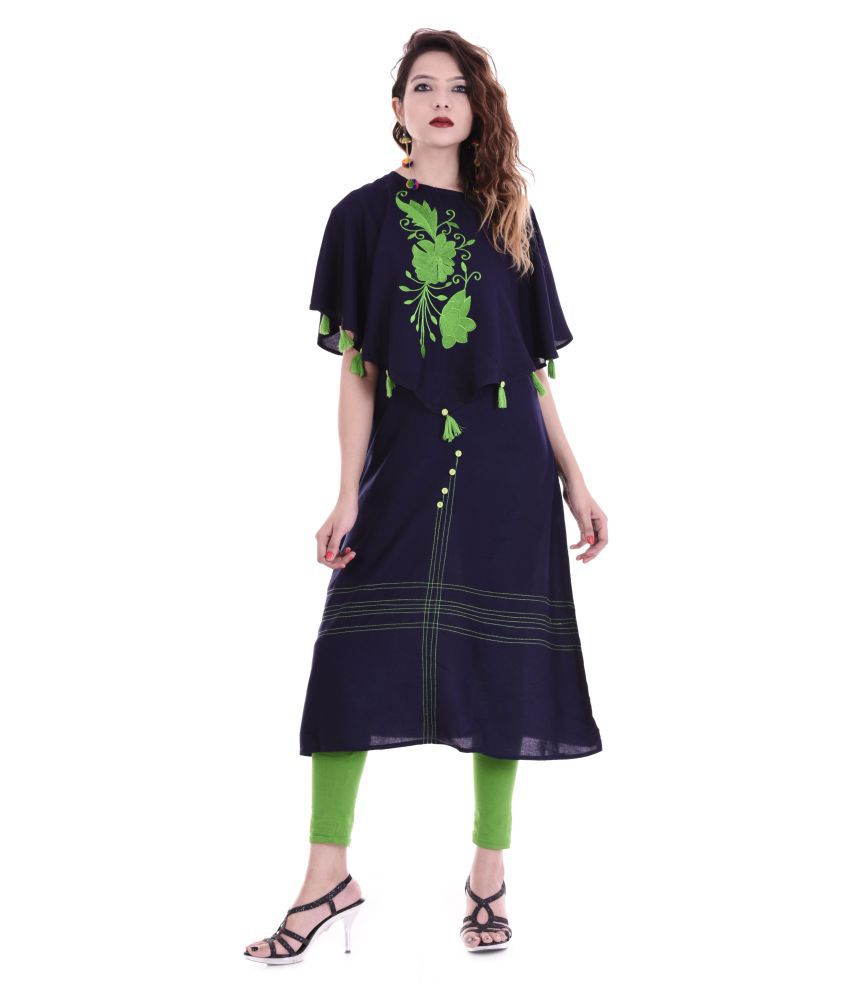 Maa Laxmi Garments Navy Rayon Straight Kurti